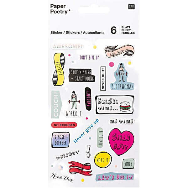 Paper Poetry Sticker Motivation 6 Blatt