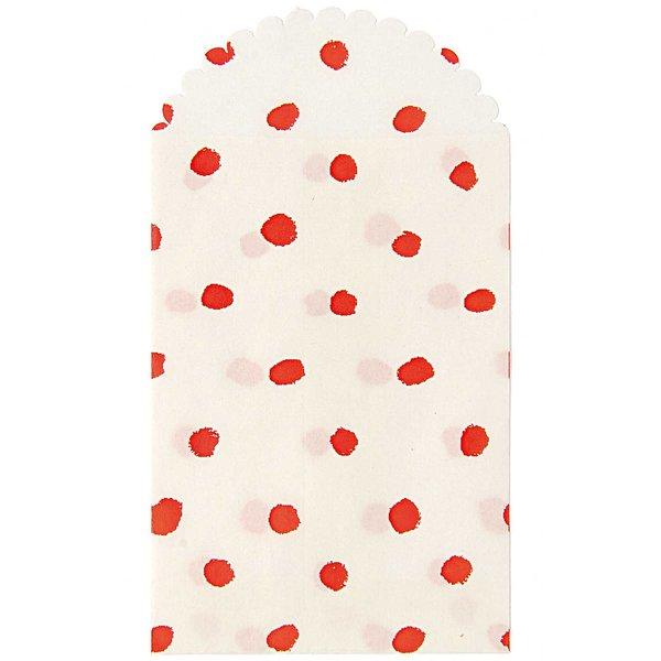 Paper Poetry Papiertüte rote Punkte 12,5x7cm 6 Stück