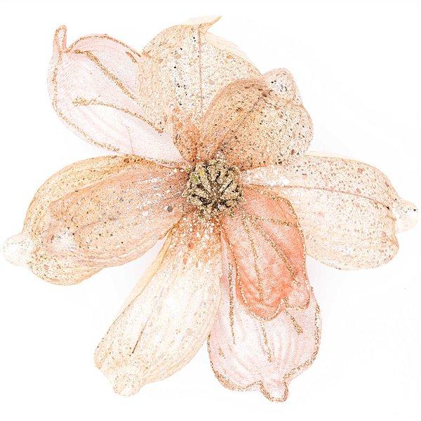 Deko-Blüte am Clip rosé-gold 21cm