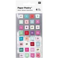 Paper Poetry Sticker Zahlen 1-31 128 Stück
