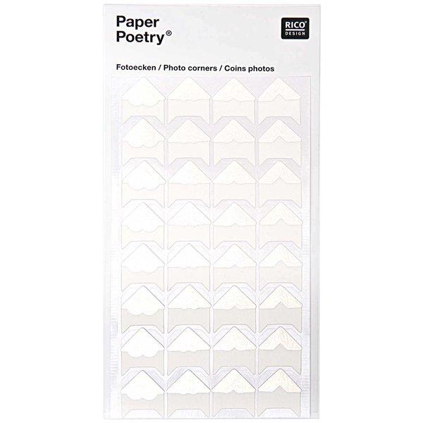 Paper Poetry Design Fotoecken weiß 32 Stück