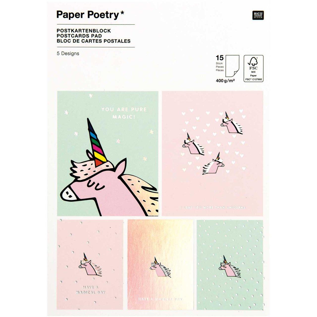 Paper Poetry Postkartenblock Einhorn 400g/m² 15...