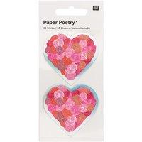 Paper Poetry 3D-Sticker Herzen mit Rosen rot 2 Stück