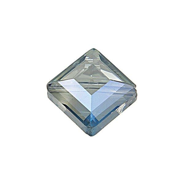 Jewellery Made by Me Perle geschliffen eckig blau irisierend 13x10mm Glas 4 Stück