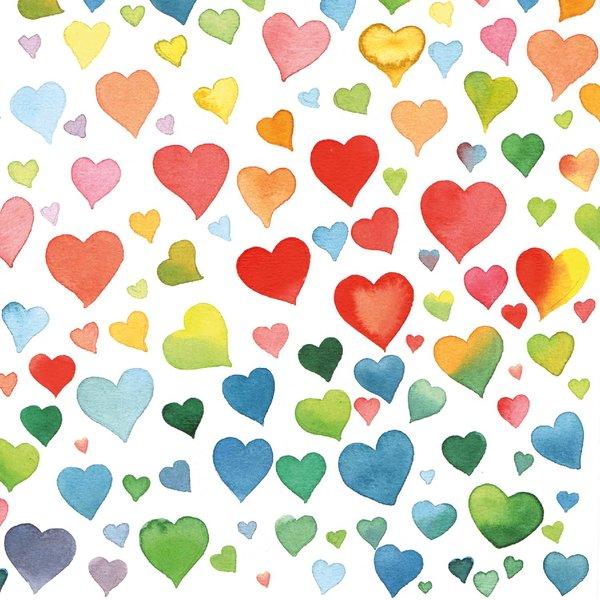 Ambiente Serviette Colourful Hearts Mix 33x33cm 20 Stück