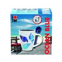 """Porcelain Tassen-Set """"OceanBlue"""" 13-teilig"""
