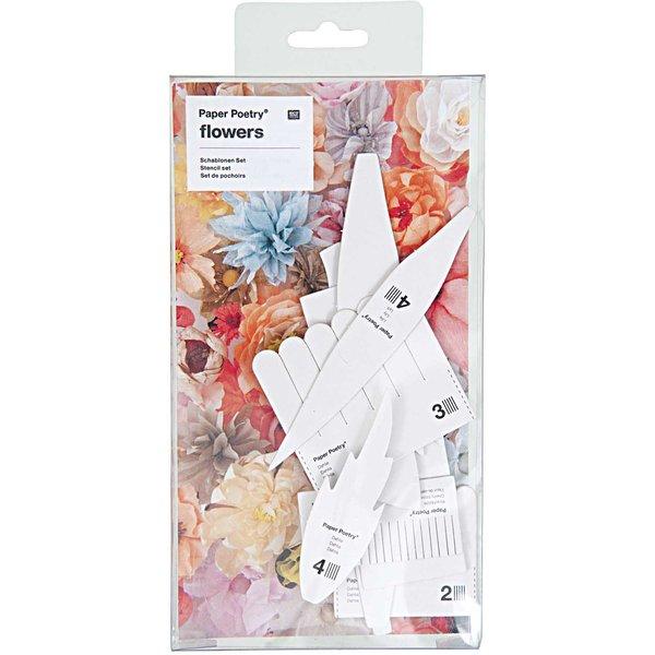 Paper Poetry Schablonenset für Kirschblüten-Dahlien-Lilien 13teilig