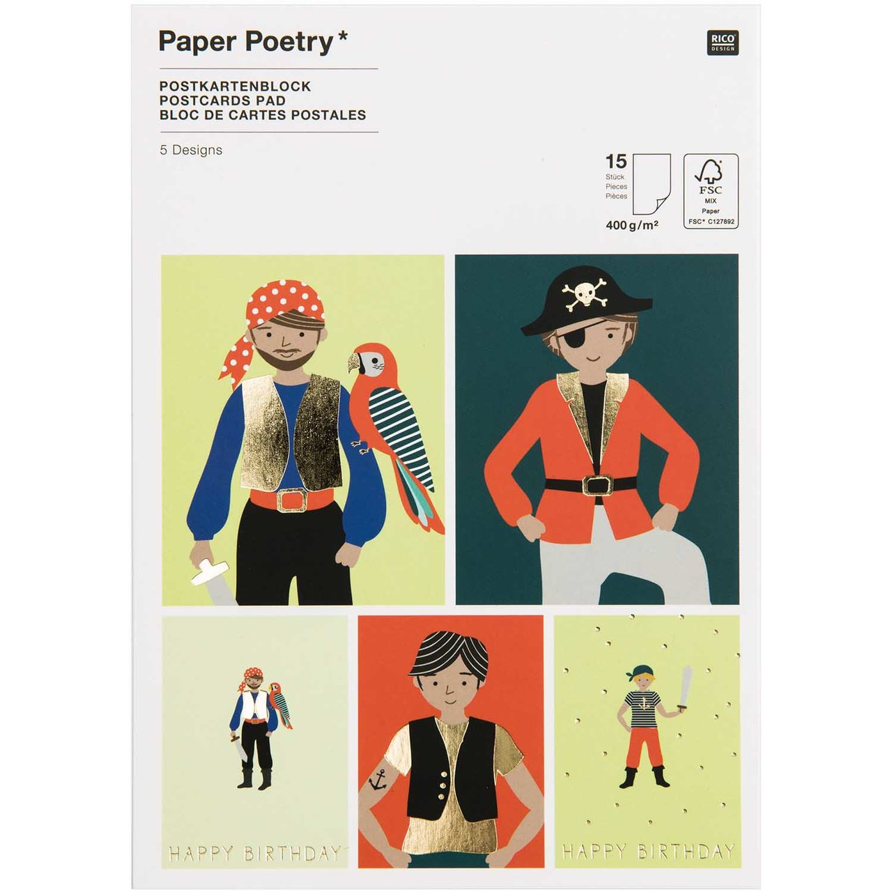 Paper Poetry Postkartenblock Pirat 400g/m² 15 S...