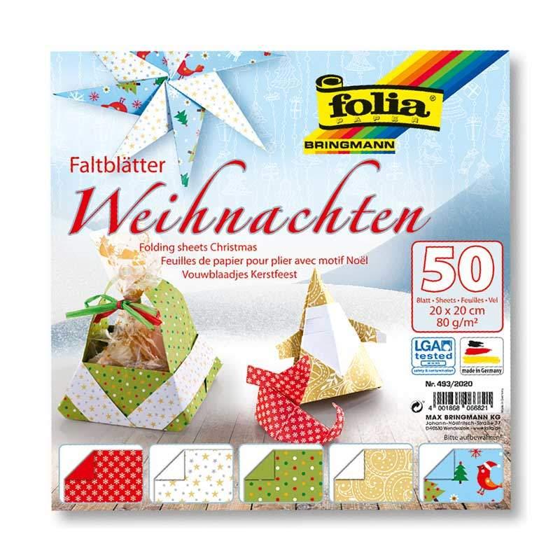 folia Faltblätter Weihnachten 20x20cm 50 Blatt günstig kaufen »