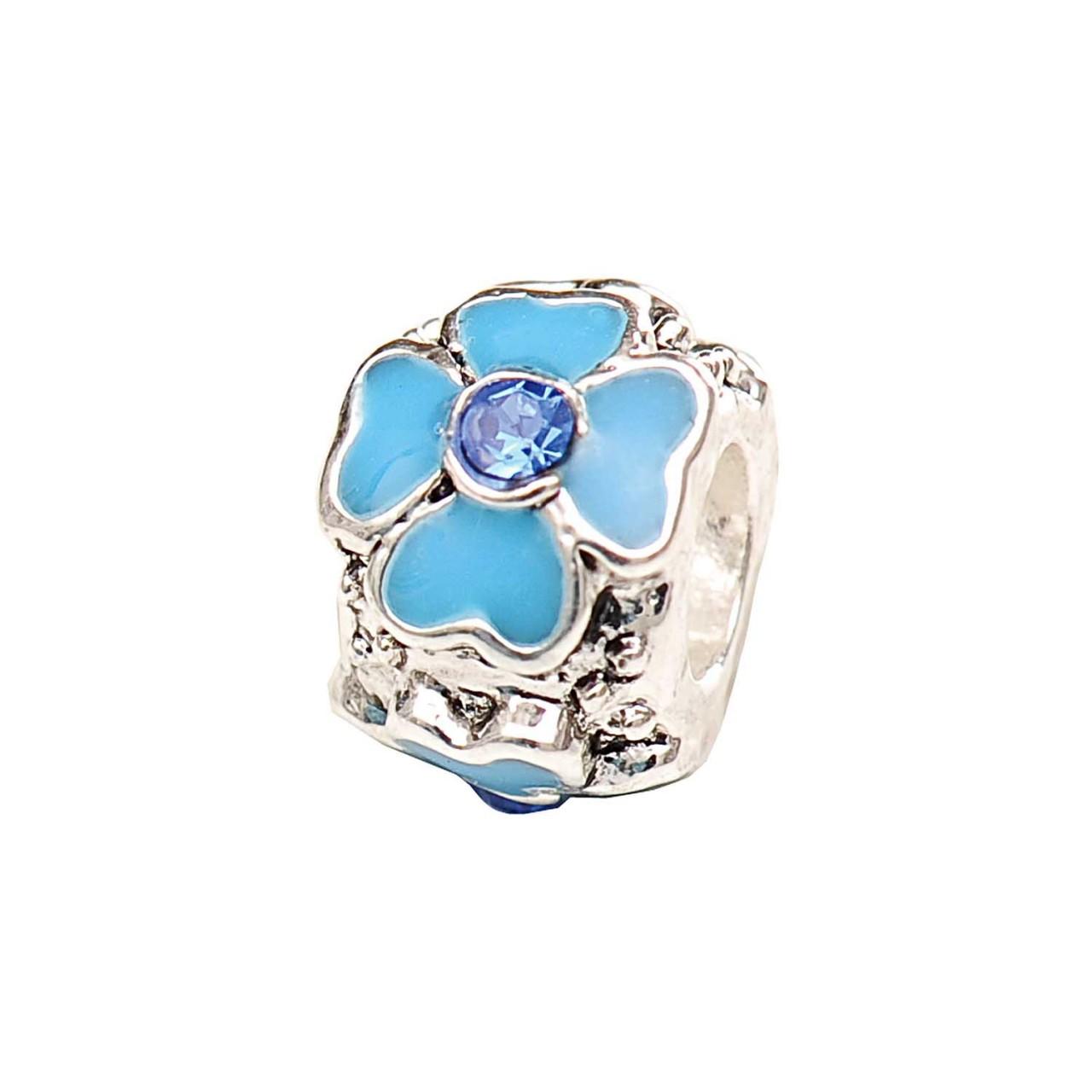 Rico  Kugel mit Blumen blau versilbert 11x8mm