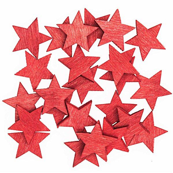 Streu Sterne rot 2cm Holz 24 Stück