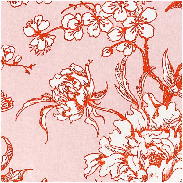 Rico Design Stoff Kirschblüten puder-orange 140cm