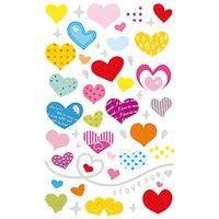 Paper Poetry Sticker Herzen mehrfarbig gemustert 10x19cm