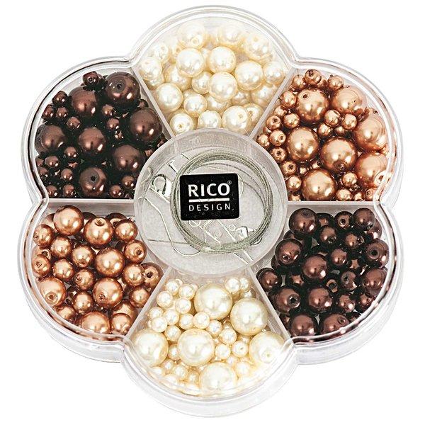 Rico Design Renaissance Perlenset braun  Mix