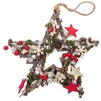 Deko-Hänger Weihnachtsstern natur-rot 25cm