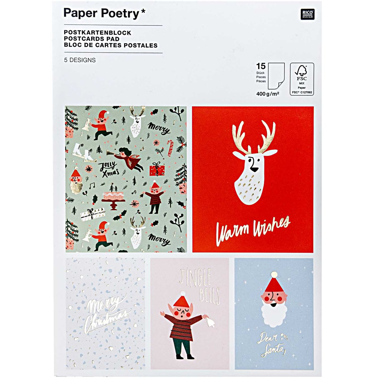 Paper Poetry Postkartenblock Jolly Christmas Cl...