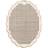 Rico Design Holzanhänger oval zum Besticken 6x8cm