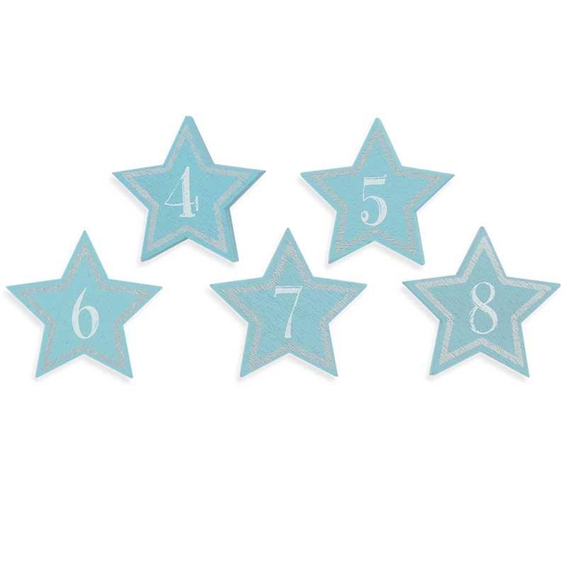 Adventskalender Zahlen Holz blau/silber 4cm