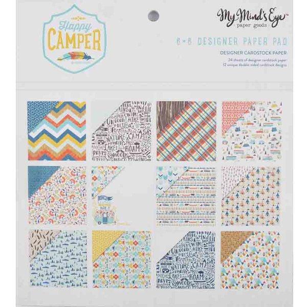 MyMindsEye Scrapbooking Paper Pad Happy Camper 15,2x15,2cm 24 Blatt