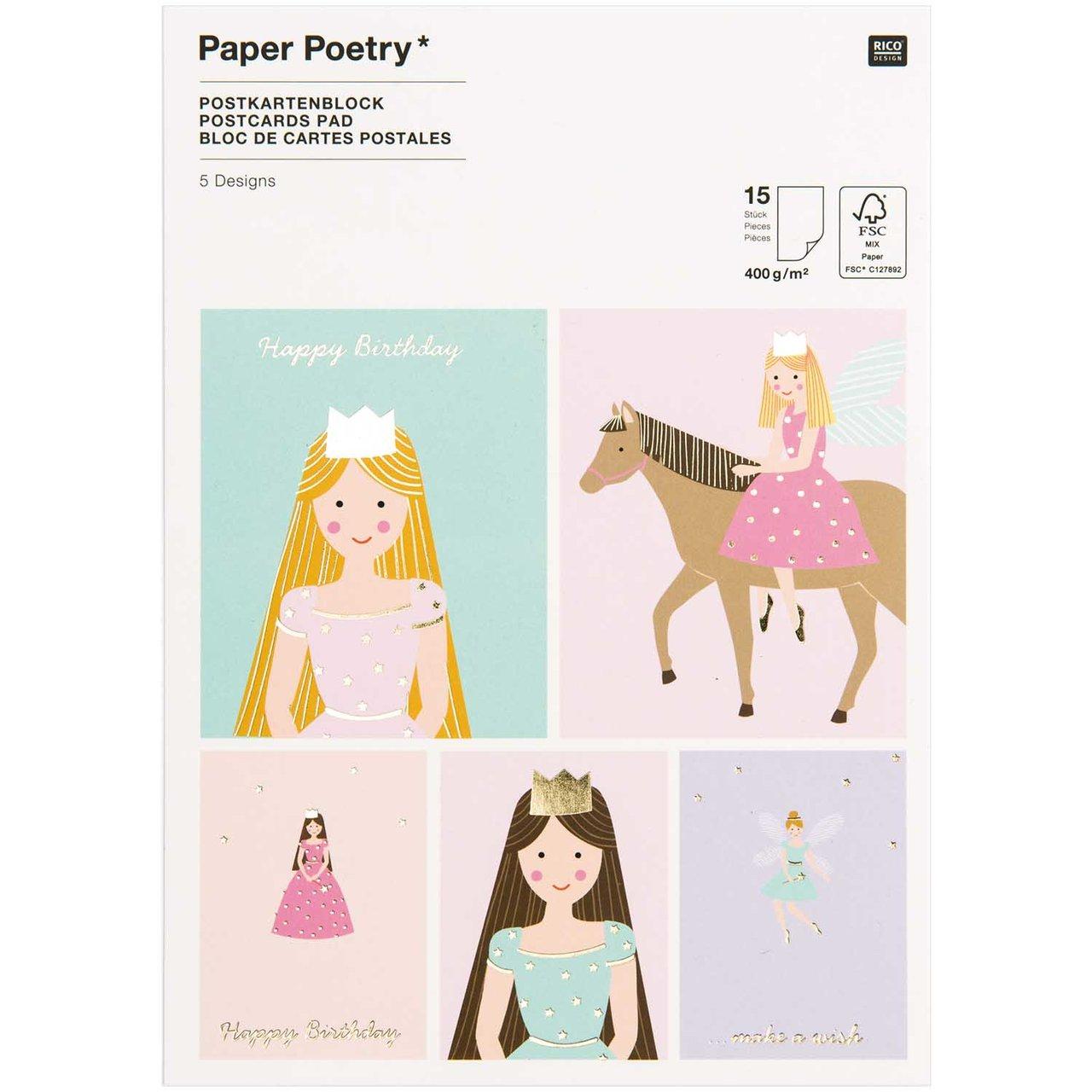 Paper Poetry Postkartenblock Prinzessin 400g/m²...