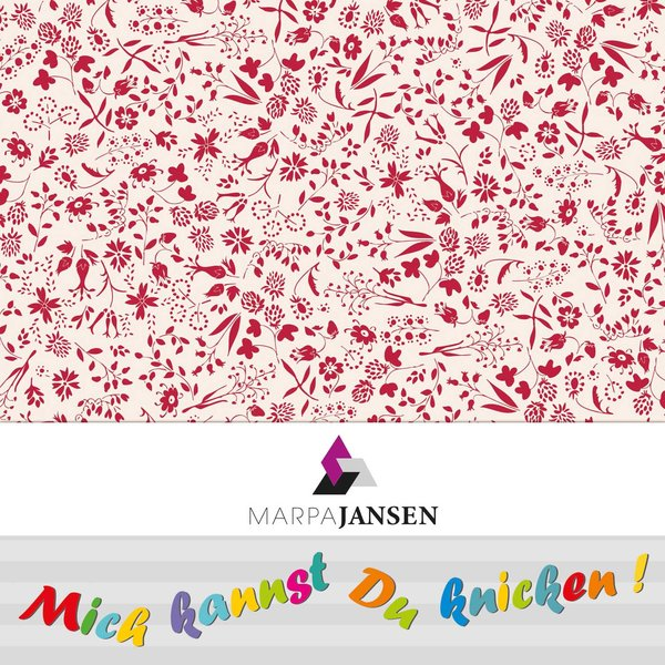 MARPA JANSEN Faltblätter Blumen rot-weiß 15x15cm 32 Stück