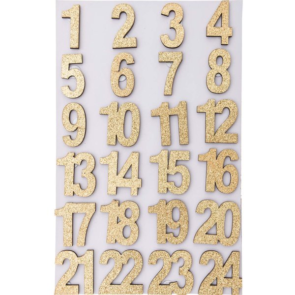 Adventskalender Zahlen gold Glitter