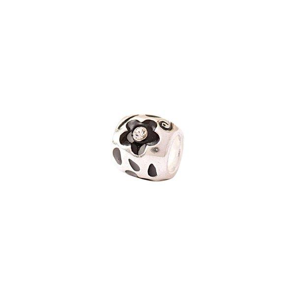 Rico Design Kugel mit Blumen schwarz-silber 1x0,9cm