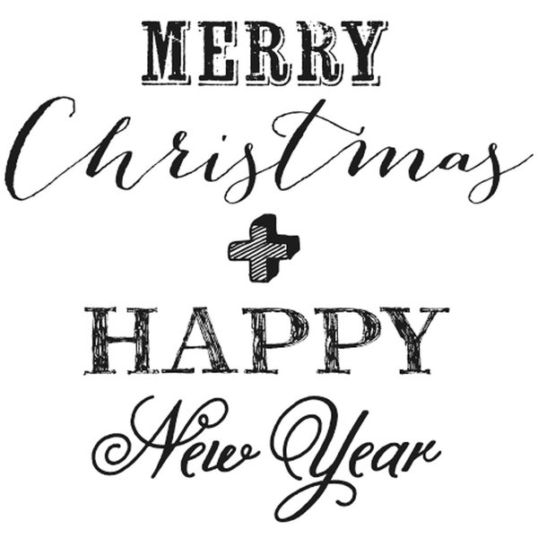 Rico Design Stempel Merry Christmas & Happy New Year 3,5x3,5cm