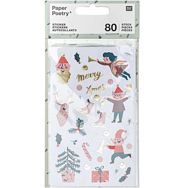Paper Poetry Sticker Jolly Christmas Classic 4 Blatt
