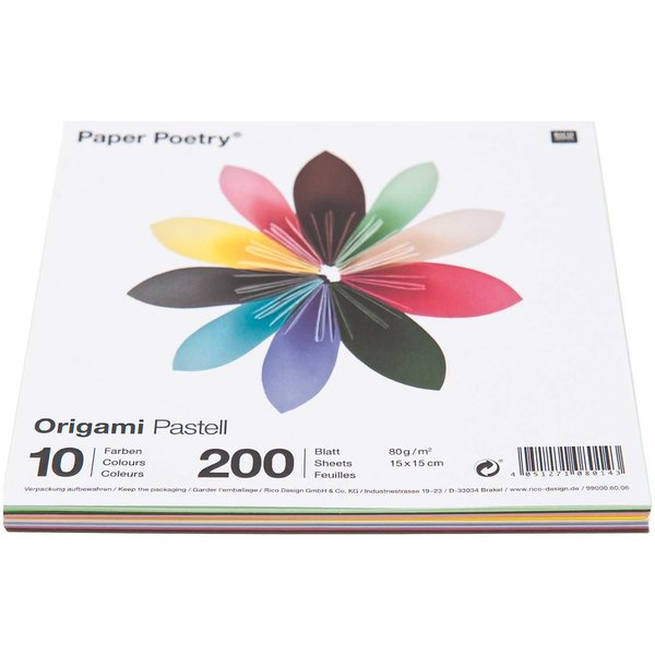 Origami Blaetter , Paper Poetry Origami Pastell 15x15cm 200 Blatt 10 Farben Kaufen