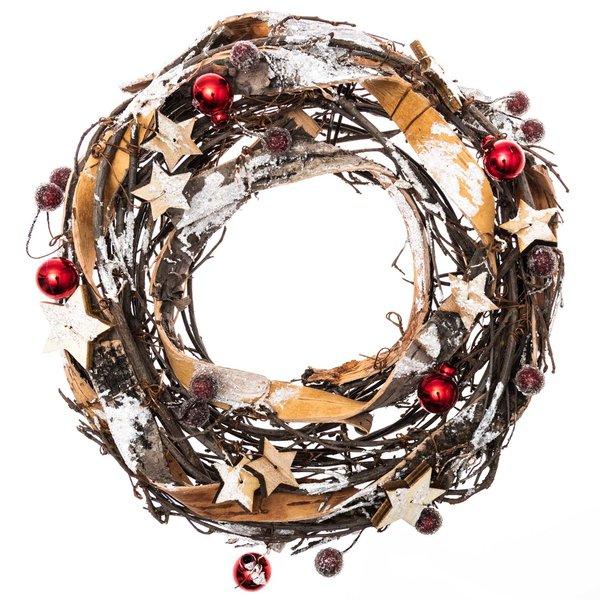 Weihnachtskranz natur-rot 24cm