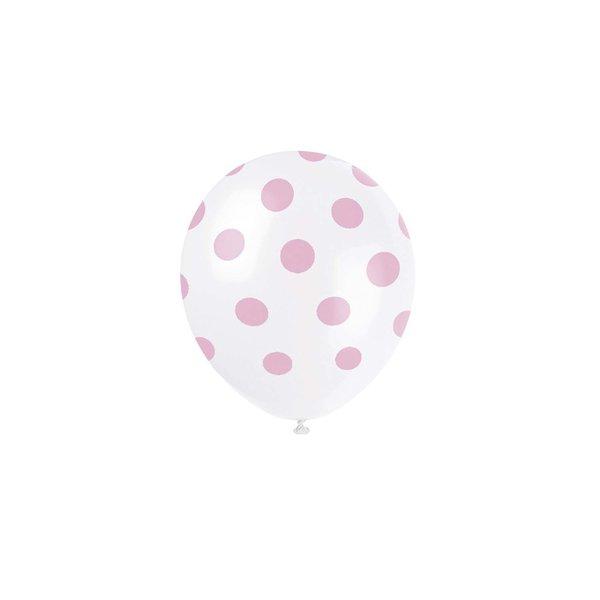 Partystrolche Luftballons rosa gepunktet 30cm 6 Stück