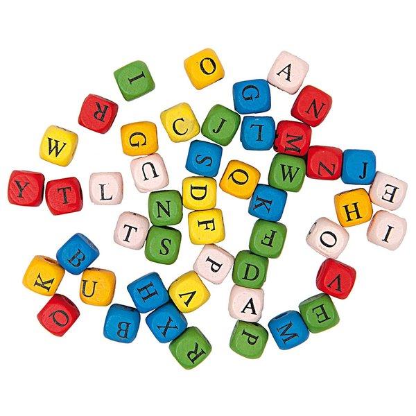 Rico Design Holzwürfel Buchstaben mehrfarbig ca. 60 Stück
