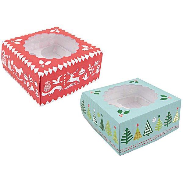 Rico Design Cupcake Box X-MAS rot-mint 16x16x7,5cm 2 Stück