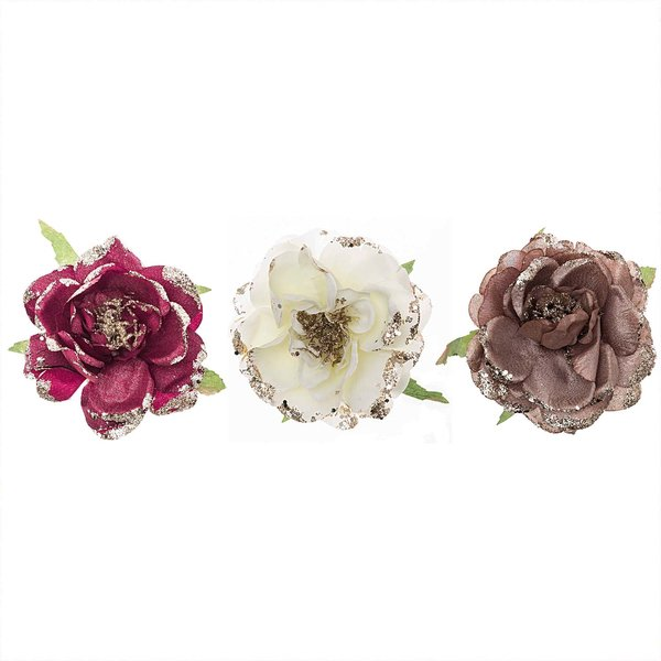 Rosenblüte am Clip 10,5cm