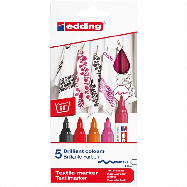 Edding Textilmarker Set warm colours 5 Stück