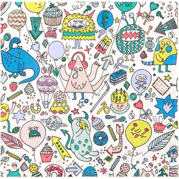 YEY! Let's Party Servietten Monster Party 33x33cm 20 Stück