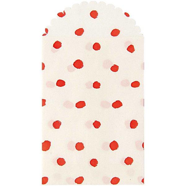 Paper Poetry Papiertüte rote Punkte 23,5x12,5cm 6 Stück