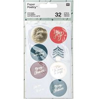 Paper Poetry Sticker Jolly Christmas Classic rund 4 Blatt