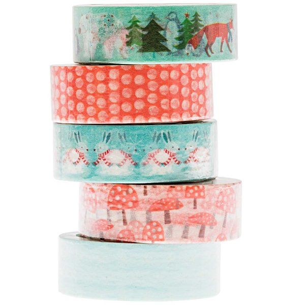 Paper Poetry Tape Set mint-rot 1,5cm 10m 5 Stück