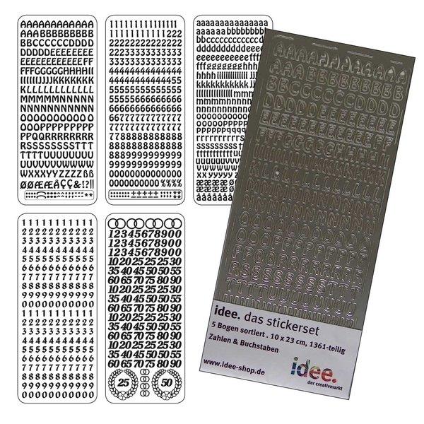 Stickerset Zahlen & Buchstaben silber 5 Bogen