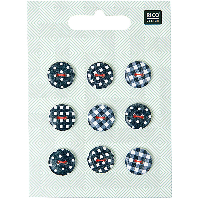 2-Lochknöpfe-Set mit verschiedenen Mustern