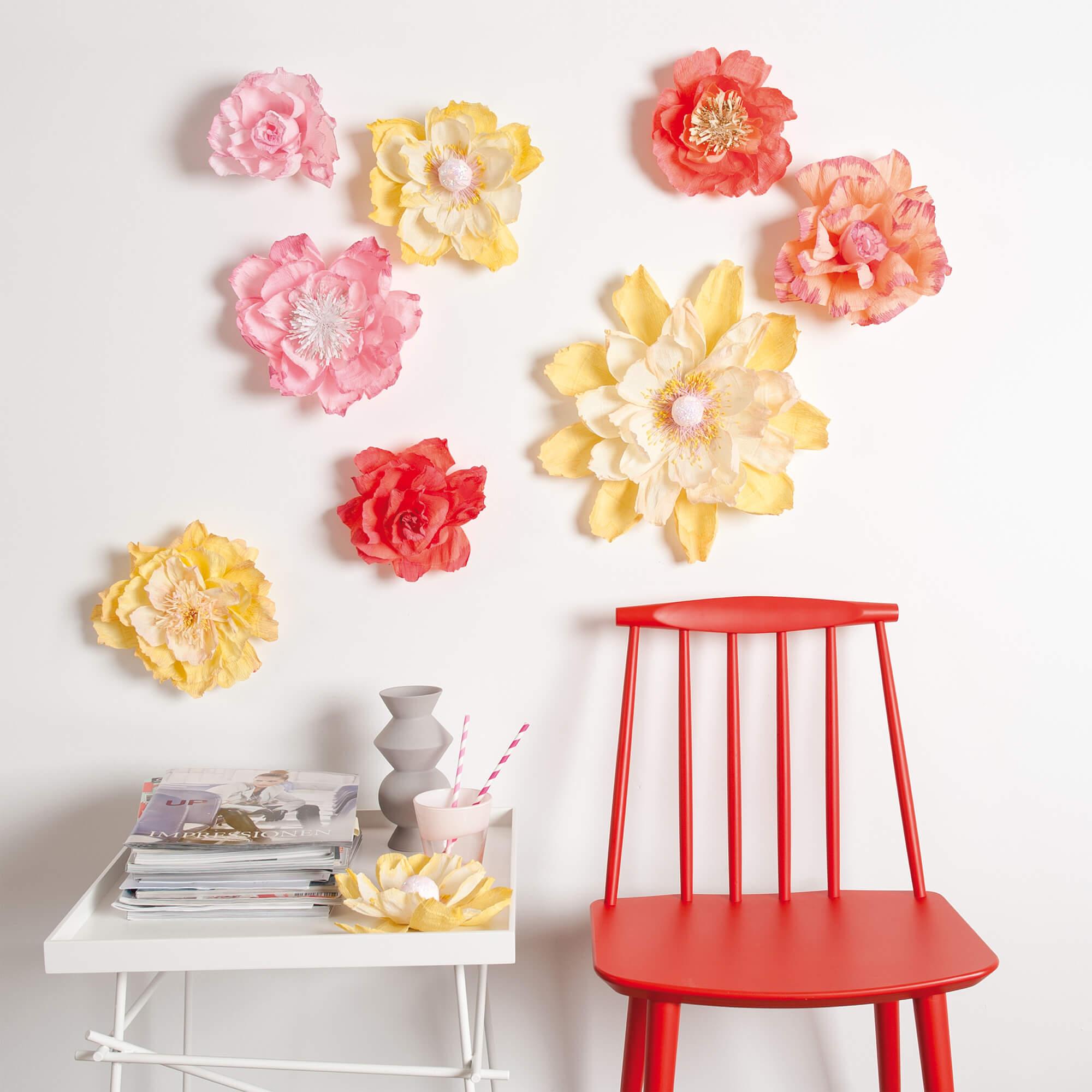 xxl papierblumen basteln » gratis anleitung zum selber machen