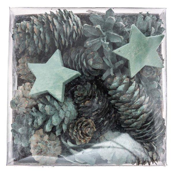 Günstig Weihnachtsdeko Kaufen.Weihnachtsdeko Sterne Und Zapfen Natur Blaugrün