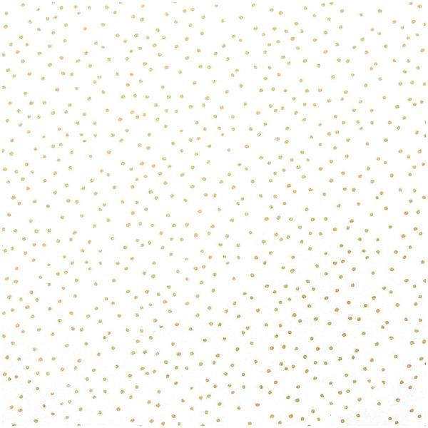 Rico Design Stoff weiß Punkte gold 140cm