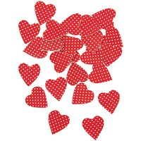 Rico Design Streu Herzen rot-weiße Punkte 12 Stück