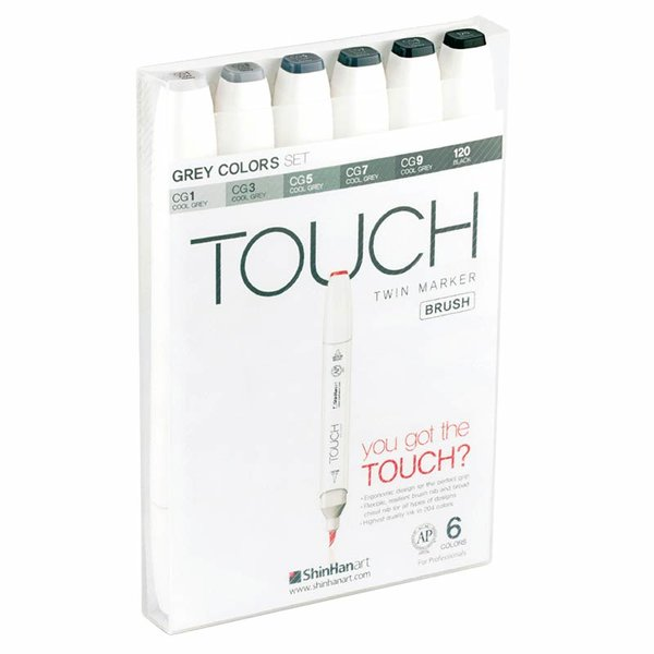 TOUCH Twin Brush Marker Grey Colors 6teilig