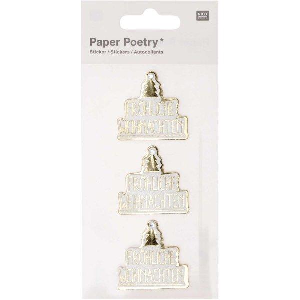 Paper Poetry 3D-Sticker Frohe Weihnachten 3 Stück