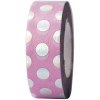Paper Poetry Tape Punkte rosa irisierend 15mm 10m Hot Foil