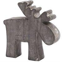Hirsch grau gewischt 10cm Holz